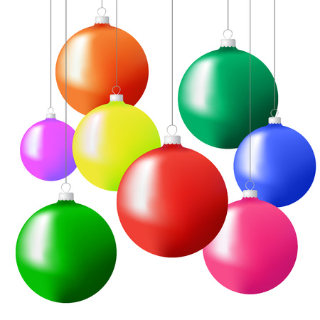 Christmas tree balls in different colors hanging on strings. Vector illustration on a white background