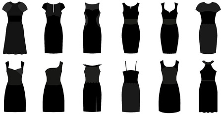 fashion set: Short black fashion and luxury gowns. Set of twelve different elegant and expensive cocktail dresses. Vector illustration isolated on a white background.