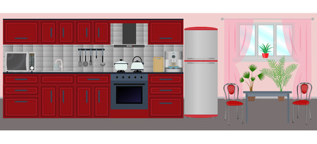 Cocina interiorwith muebles, equipo de cocina, mesa y sillas. Ilustración  del vector en el estilo plano