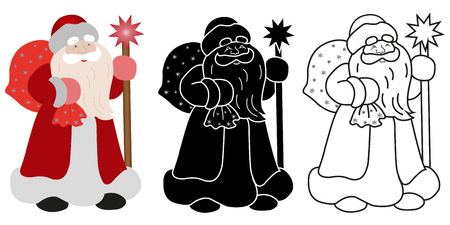 saint nicholas: Santa Claus with a bag of gifts and stick in different ways: colored, black silhouette, contour. Vector illustration in a flat style