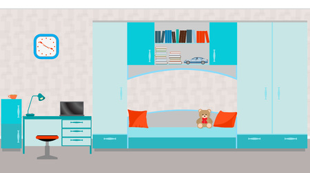 child room: Child room interior with bed, table, laptop, books,toys and wall clock. Vector illustration in flat style