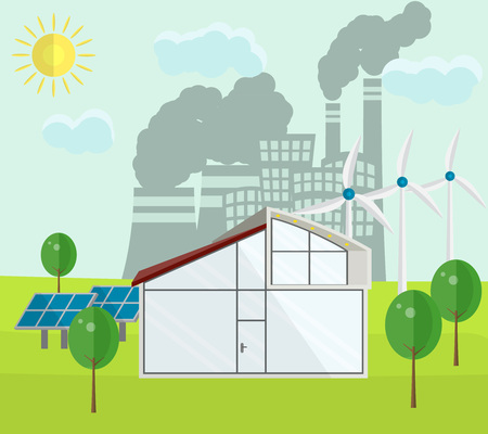 Renewable green energy sources concept on a dirty city background. Vector illustration in flat style