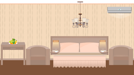East hotel room interior with furniture, chandelier, air conditioner. Vector illustration in flat style Illustration