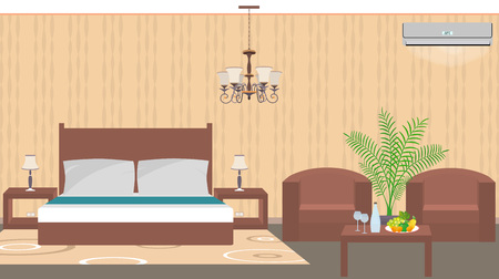 hotel room: Luxury hotel room interior east style with furniture, air conditioner, houseplant. Vector illustration in flat style