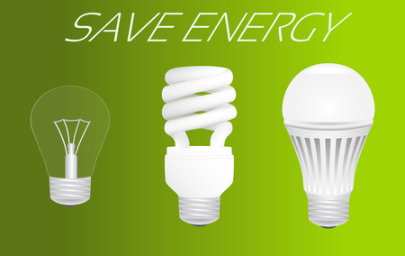 compact fluorescent lightbulb: Save energy concept. Evolution from incandescent lamp through fluorescent lamp to led lamp usage. Vector illustration