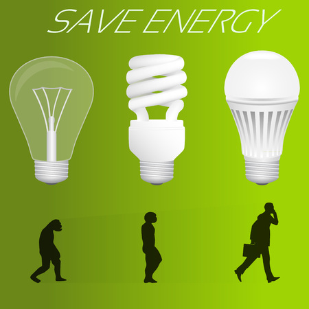 human evolution: Save energy concept. Evolution from incandescent lamp to led lamp similar to human evolution. Vector illustration