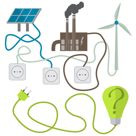 choosing: Renewable energy sources choosing concept. Vector illustration in flat style Illustration