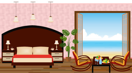 luxury interior: Luxury interior of resort hotel room with outlet to sea. Vector illustration in flat style Illustration