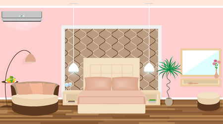 lux: Luxe hotel room interior with air cinditioning, lights equipment, furniture. Vector illustration in flat style