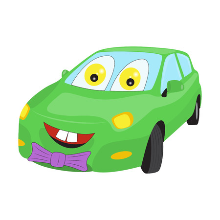 Smiley enfrentó coche de dibujos animados con una corbata de lazo. ilustración vectorial Brillante