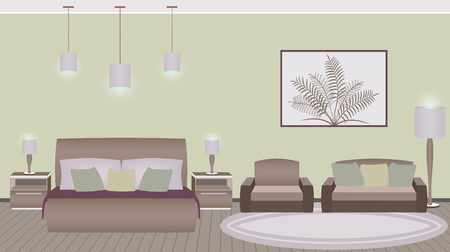 hotel bedroom: Classic style hotel bedroom interior with furniture. Vector illustration Illustration