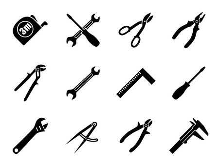 setsquare: Set of twelve industrial hand tools for construction, engineering, mechanics in black and white colors. Flat style vector illustration