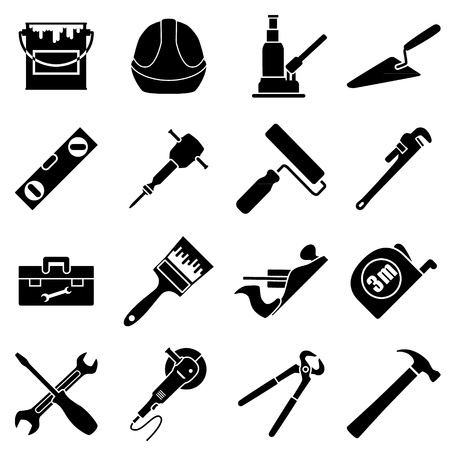 pick ax: Sixteen industrial, construction, engineering tools collection in flat style and black and white colors. Vector illustration