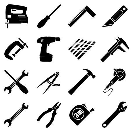 setsquare: Set of sixteen industrial, building, manufacturing, engineering tools in flat style. Black and white vector illustration