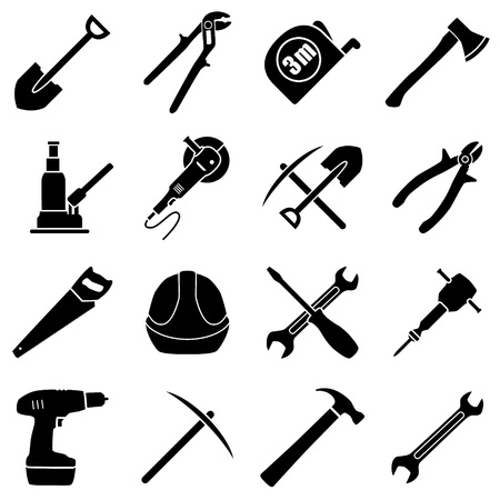 pick ax: Set of sixteen black and white hand tools on a white background. Vector illustration in flat style