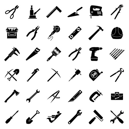 pick ax: Set of thirty six flat style black and white tools used in construction, building, engeeniring, manufacturing. Vector illustration.