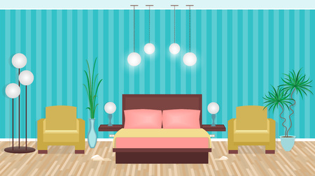 Bright colors elegant bedroom interior with furniture, light equipment, houseplants. Flat vector illustration Illustration