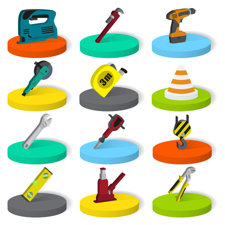 Twelve isometric industrial, building, construction tools collection. Flat isometric style vector illustration