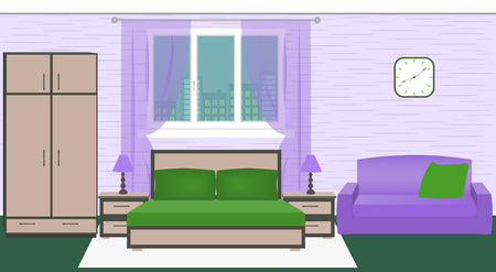 hotel bedroom: Hotel room bedroom interior with bed, wardrobe, sofa, lamps. Bright color vector illustration in flat style.