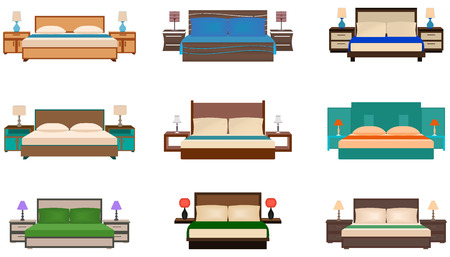 headboard: Set of bright colors nine bed collection with bedside tables and lamps. Flat style vector illustration.