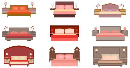 bedside tables: Set of pastel colors nine bed collection with bedside tables, lamps and headboards. Flat style vector illustration. Illustration
