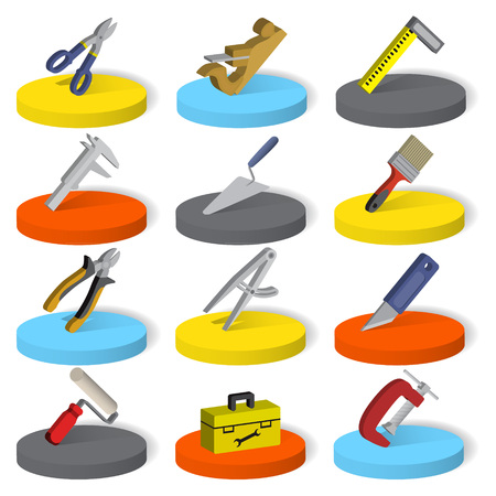 Set of twelve industrial, construction, paint tools in isometric style, isolated on a white background. Vector illustration Illustration