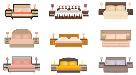 bedside tables: Set of warm colors nine bed with bedside tables, lamps and headboards. Flat style vector illustration.