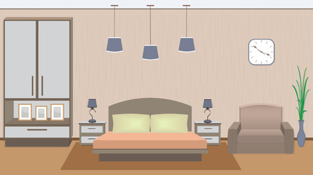 Elegant bedroom interior with furniture, houseplant, photoframes. Flat style vector illustration.
