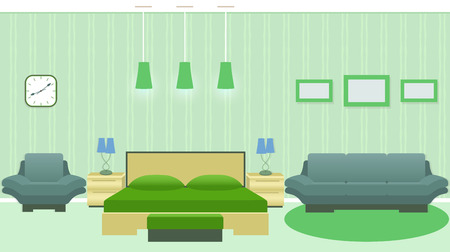 Modern bedroom interior with furniture including bed, armchair, sofa, photoframes on the wall. Flat vector illustration.