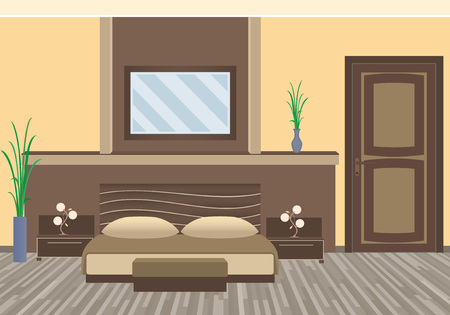 apartment suite: Modern bedroom interior with houseplants, furniture. Flat style vector illustration Illustration