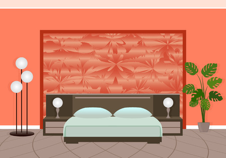 complicated: Bright bedroom interior in red colors with complicated pattern on the backwall. Flat style vector illustration