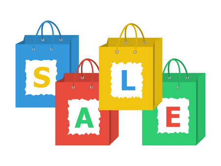 Set of shopping bags with letters of sale word on them. Flat style vector illustration.