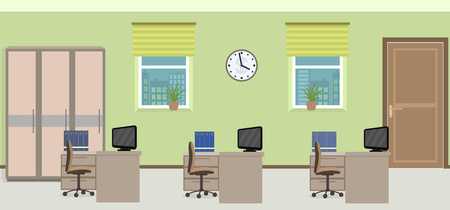 interior spaces: Office room interior including three work spaces with furniture. Flat style vector illustration.
