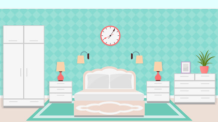 bedside tables: Bedroom interior in classic style with furniture including bed, bedside tables, wardrobe, clock and lamps. Vector illustration in flat style.