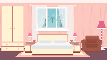 Interior bedroom with furniture, carpet, lamps and winter landscape. Vector illustration in flat style Çizim