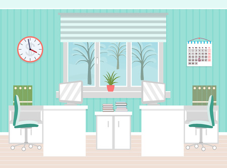 interior spaces: Office room interior including two work spaces with winter landscape outside window. Flat style vector illustration.