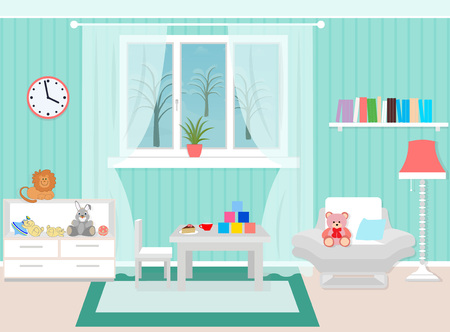 plaything: Living room interior including armchair, coffee table, bookshelf, toys. Vector illustration in a flat style.
