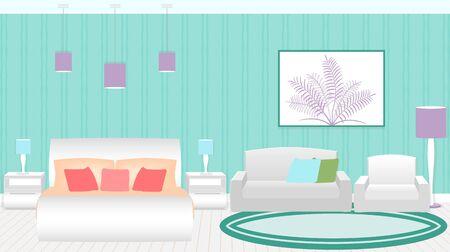 headboard: Modern style hotel bedroom interior with furniture. Flat vector illustration.