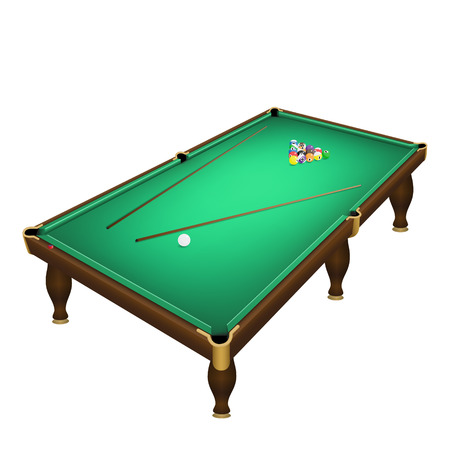 Billiard game balls start position on a realistic pool table. Vector illustration of a realistic billiard table with a balls and cues