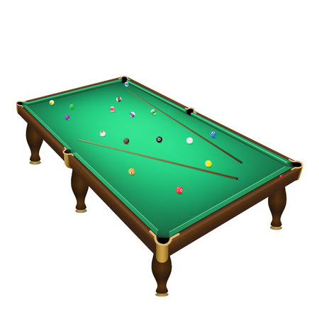game of pool: Billiard game balls position on a realistic pool table with cues. Vector illustration on a white background