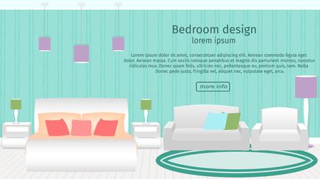 headboard: Web design banner of bedroom interior with furniture. Flat style vector illustration. Illustration