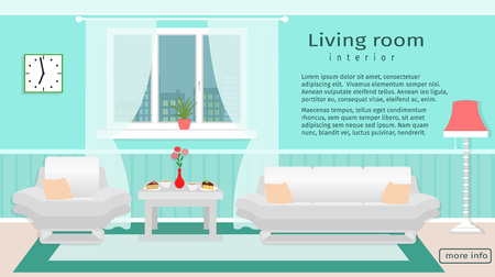 website window: Website banner of living room interior with furniture and window. Vector illustration in flat style for your webdesign. Illustration