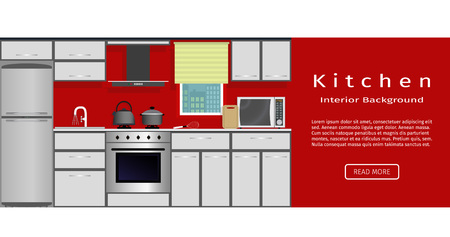 modern kitchen interior: Modern kitchen interior banner for your web design. Housewife workplace organization. Flat vector illustration for website designers.