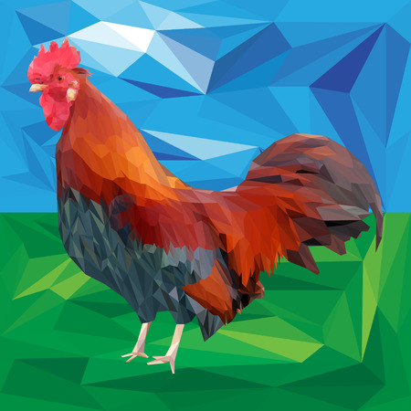Bright colorful rooster on a landscape background. Red fiery cock is a 2017 year symbol. Low poly style vector illustration.