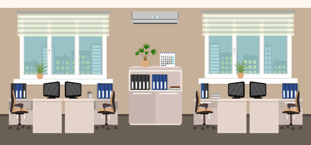 interior spaces: Office room interior including four work spaces with cityscape outside window. Flat style vector illustration. Illustration