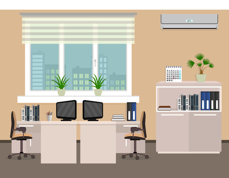 interior spaces: Office room interior including two work spaces with cityscape outside window. Flat style vector illustration.