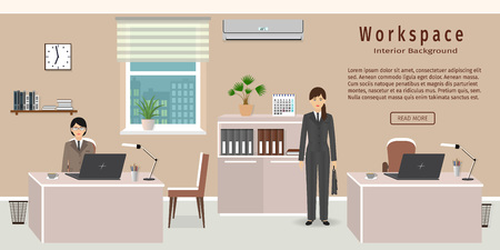 interior spaces: Office room interior including two work spaces and women employees. Flat style vector illustration. Illustration