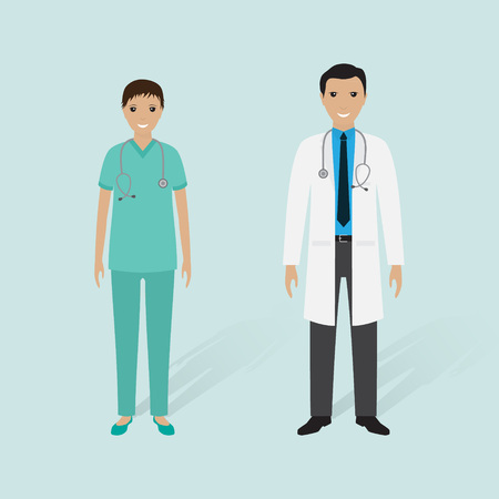 Male doctor and female nurse with shadows. Hospital staff. Medical people. Flat style vector 向量圖像