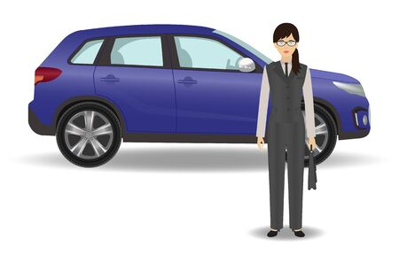 vacation with laptop: Businesswoman on a luxury car background. Office woman employee with auto on a white background. Flat style vector illustration. Illustration