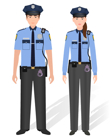 Police officers male and female isolated on white background. Man and woman constable. Flat style vector illustration.